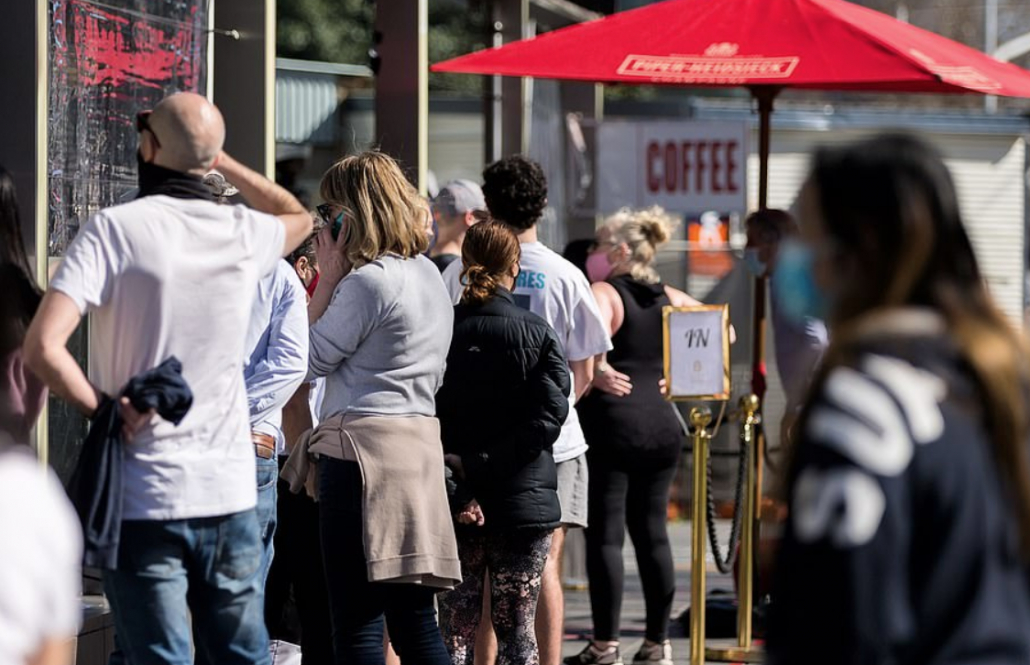 Long crowded queue for coffee in Southbank